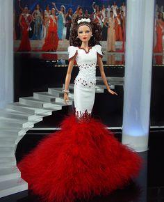 Barbie Miss Idaho Ninimomo 2011 Barbie Gowns, Barbie Clothes, Stephane Rolland, Couture Fashion, Fashion Dolls, Miss Pageant, Custom Barbie, Barbie Miss, Idaho