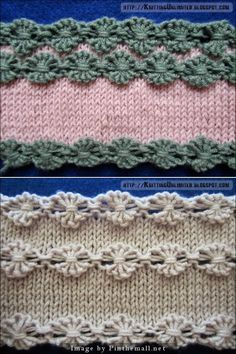 """"""" #Knitting_Tutorial for Flowers in a Row #Knitting_Stitch. This is much easier than it looks. Pattern: Cast on multiple of 6 sts + 1. Row 1: Knit Row 2: Knit 1, * (knit the next stitch wrapping the yarn 3 times around the needle) 5 times, Knit 1; repeat from * to end. Row 3: Purl 1, * flower stitch; purl 1; repeat from * to end. Row 4: Knit. Video at knittingunlimited."""" Enjoy! #KnittingGuru ** http://www.KnittingGuru.etsy.com"""