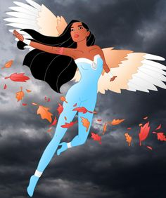 Disney Superheroes: Pocahontas- controls the wind and all kinds of air flow. She can fly with the wings of an angel. Disney Pocahontas, Princess Pocahontas, Disney Princesses And Princes, Disney Princess Superhero, Heros Disney, Disney Pixar, Disney Characters, Disney Bound, Disney Fan Art