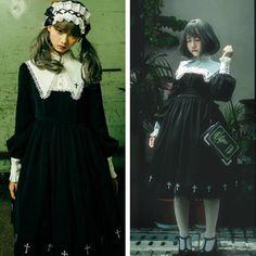 78cb356c7eaf3 Black Gothic Lolita Dress with Peter Pan Collar Full Gathered Skirt ...