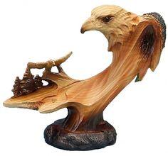 Bald Eagle Scene Carved Sculpture