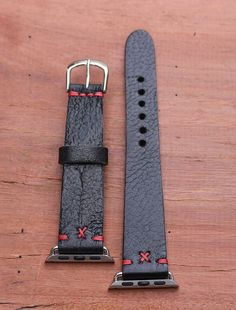 38mm Apple iwatch handmade leather band black with red cross stitch