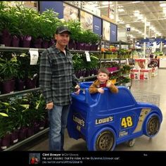 "March 2013: Clint Bowyer out shopping at Lowe's Home Improvement and Tweeted this picture with the caption ""He just insisted he rides in the Jimmie Johnson car!"" Jimmie's response? ""Smile bro, maybe you should ride in it"""