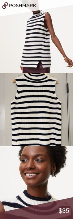 LOFT Cotton/ Wool Sweater Tank. Luxe Cotton and Wool Blend, very soft and beautiful sweater from Loft. LOFT Sweaters