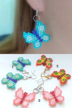 Fluttering Butterflies-Beaded Dangle Earrings-Colorful by Galiga