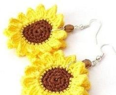 Hand Crochet Sunflower Earrings / Custom made crochet earrings in your favorite color and shape / crochet six points star / Five points Star