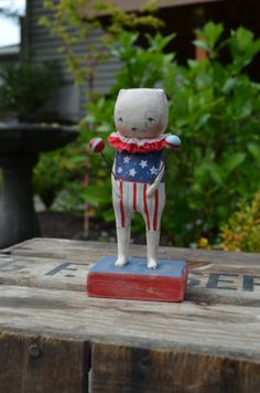 Patriotic 4th of July  C Folk Art Paperclay by apinchofprim, $50.00