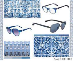 Uma estampa que tem feito sucesso ultimamente é a de azulejos (portugueses e chineses). As cores branca e azul formam a base principal desse padrão, então aposte em óculos nessas cores e em armações mais cleans.