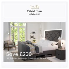Multimedia and comfort at the highest level... Have your TV Bed delivered in 7 days! 🚚 This Tv Bed is perfect for customers who wants a simple stylish bed that offers big storage, big TV, and big sound! 📺 Tv Bed Frame, Cosy Bed, Tv Beds, Large Tv, Stylish Beds, Bed Storage, Bed Sizes, Grey Fabric, Multimedia