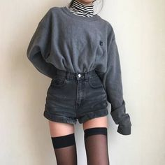 Striped turtleneck layered with sweater and cuffed shorts Outfit - Tatum Bitterling