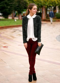 burgundy pants grey tweed blazer