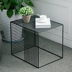 Square Wrought Iron Coffee Table Outdoor Iron End Table Nesting Side Table Plant – metal of life Iron Coffee Table, Iron Furniture, Iron Table, Table, Metal Side Table, Wrought Iron Table Decor, Metal Furniture, Coffee Table, End Tables