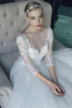 Tulle Wedding Dresses Lace A-line Bridal Gowns Custom Size 4 6 8 10 12 14 16 18+