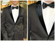 ELEGANZA VELVET LAPEL TONE ON TONE STRIPE TUXEDO CHARCOAL WITH BLACK LAPEL SLIM #Tuxedo