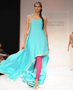 Fresh Blue Suit and Vest with Mirror-work- Buy Best of Payal Singhal,Suits Online | Exclusively.in