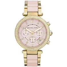 Michael Kors MK6326 Women's Parker Ceramic Chronograph Bracelet Strap... ($395) ❤ liked on Polyvore featuring jewelry, watches, water resistant watches, gold watches, leather-strap watches, michael kors jewelry and gold wristwatches