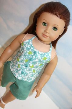 18 Inch Doll (like American Girl)  Seafoam Green Stretch Denim Shorts and Floral Button Front Halter Top