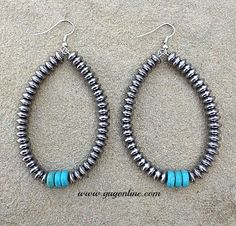Save 10% by using the discount code GUGREPKCAR at www.gugonline.com now! Silver Beaded Hoop Earrings with Turquoise Accent