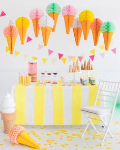 Ice Cream Themed Bridal Shower - Ice Cream Wedding Ideas - Colorful Bachelorette Party Idea {Oh Happy Day} Ice Cream Wedding, Ice Cream Party, Honeycomb Decorations, Donut Party, Sundae Party, Ice Cream Social, Love Ice Cream, Summer Parties, Kid Parties