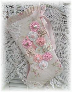 Pink santa stocking with yo yos
