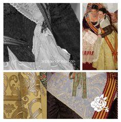 Detalles del traje de valenciana hemos confeccionado por Aguas de Marzo indumentaria para Andrea Ariño, Corte de Honor de la FM2105 de Sagunto, que ha lucido para la Nit d'Albaes