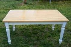 Q: I have a table that I'd like to redo. The top looks like butcher block but it's very light in color. I'd like to stain the top a darker color and paint the legs. Got any tips on how to redo the top? Diy Furniture Repair, How To Clean Furniture, Steel Furniture, Furniture Cleaning, Kitchen Furniture, Table Top Redo, Diy Table, Kitchen Table Chairs, Dining Table