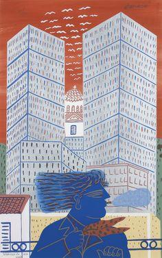 Greece~~~Alecos Fassianos (Greek, b. Painter Artist, Artist Painting, Artist Art, Greek Paintings, Greek Culture, Video Artist, Greek Art, 10 Picture, Abstract Lines