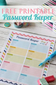 This free printable password keeper will help you keep your online accounts organized. Write down the websites you visit and ditch those irrelevant ones!