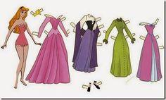 Princesas Disney para vestir, recortables | Colorear