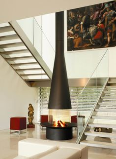 Contemporary fireplace FilioFocus by Focus Japanese style free-standing fireplace Home Decor Suspended Fireplace, Metal Fireplace, Freestanding Fireplace, Custom Fireplace, Home Fireplace, Living Room With Fireplace, Fireplace Design, Fireplace Ideas, Focus Fireplaces