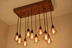 Cage Light Chandelier Industrial chic Lighting by Bornagainwoodworks