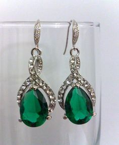 Emerald Green Earrings, Bridal Bridesmaids Jewelry, Wedding Gift, CZ Swarovski, GREEN TWIRL