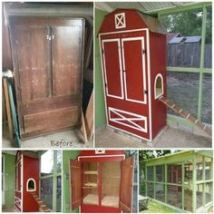 Chicken Coop - Turn an Old Armoire into a Chicken Coop.these are awesome Upcycled & Repurposed Ideas! Building a chicken coop does not have to be tricky nor does it have to set you back a ton of scratch. Portable Chicken Coop, Backyard Chicken Coops, Chicken Coop Plans, Building A Chicken Coop, Diy Chicken Coop, Chickens Backyard, Chicken Ideas, Small Chicken Coops, House Building
