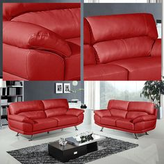 Regent Vibrant Red Leather 3 Seater 2 Stylish Two Piece Sofa Suite