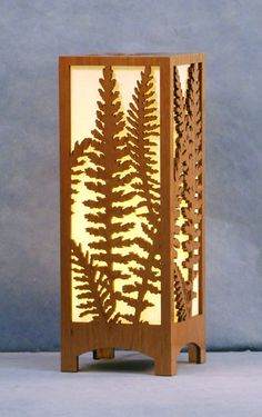"""Yarrow"" accent lamp 16"" tall. Laser cut wood"