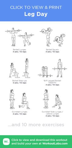 Leg Day –click to view and print this illustrated exercise plan created with #WorkoutLabsFit