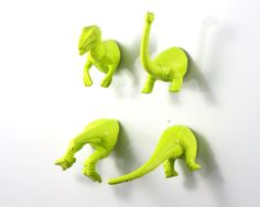 Dinosaur Magnets Lime  - 4 piece set in bright green chartreuse - funny gift - T-rex & brontosaurus. $13.00, via Etsy.