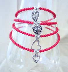 Genuine Red Coral Beaded Anklet w/ Silver Charm by Pizzelwaddels