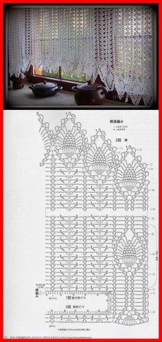 Filet Crochet Valance More Mais Filet Crochet, Crochet Motifs, Crochet Diagram, Crochet Stitches Patterns, Crochet Art, Doily Patterns, Crochet Home, Thread Crochet, Crochet Designs