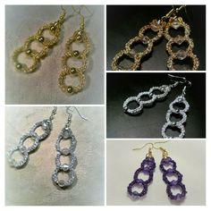 Tatted earring with beads  tatting jewelry purple by barbanta