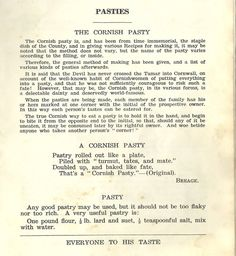 Pasty recipe: from Edith Martin, 'Cornish Recipes - Ancient and modern' (unknown edition) ?poss. p.31