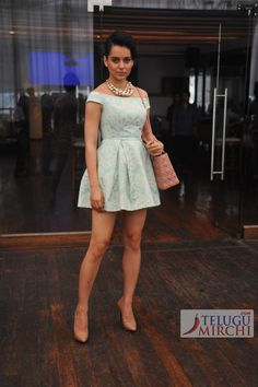 at the launch of her website http://www.officialkanganaranaut.com/ Actor Kangana Ranaut in pale colour palette: a short mint green Topshop off-shoulders dress, blush coloured patent pumps from Christian Louboutin, a Lady Dior Shoulder Bag