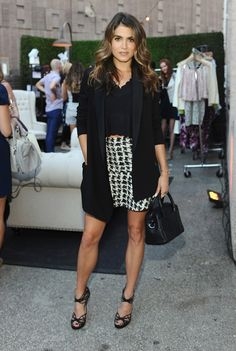 Nikki Reed in a Parker McKenna Printed Flare Skirt. // #Celebrity #ItGirl