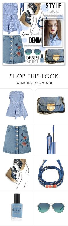 """lace-up sandals denim"" by nanawidia ❤ liked on Polyvore featuring Finders Keepers, Prada, Miss Selfridge, Benefit, Stuart Weitzman, Aurélie Bidermann, Lauren B. Beauty and Tiffany & Co."