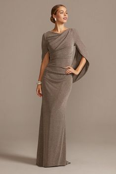 The perfect dress for the dancing queen. You\'ll sparkle and shine all night in this eye-catching glittery, curve-hugging knit dress with cascading sleeves that form a dramatic drape in the back. Mother Of Bride Outfits, Mother Of The Bride Gown, Mother Of Groom Dresses, Mothers Dresses, Long Mothers Dress, Mother Of The Bride Fashion, Mob Dresses, Necklines For Dresses, Bridesmaid Dresses