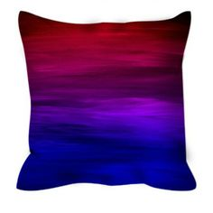 ETERNAL SUNSET Blue Red Purple Ombre Stripes Art Suede Decorative Throw Pillow Cushion Cover by EbiEmporium, #colorful #sunset #homedecor #ombre #red #blue #pillowcover #throwpillow #dormdecor