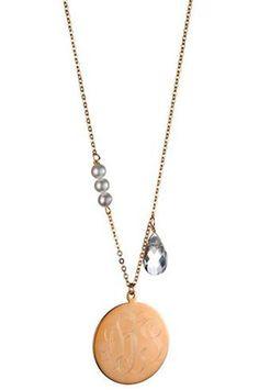 pearl and quartz monogram necklace