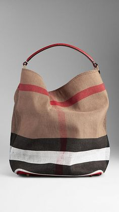 Medium Brit Check Hobo Bag | Burberry