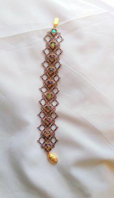 Hand Beaded Lace Bracelet with Swarovski Paradise by pjlacasse