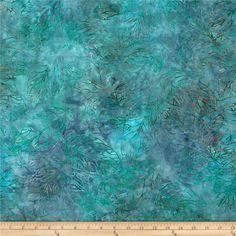 Jinny Beyer Malaam Batiks Fountain Leaf Teal from @fabricdotcom  Designed by Jenny Beyer for RJR, these Indonesian batiks are perfect for quilting, apparel and home decor accents.  Colors include shades of blue and shades of green.